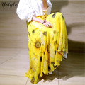 Women's Fashion Flower Prints Chiffon Long Skirt 2016 Summer Ladies Casual High Waist Pleated 3 Layers Floral Skirts Saias SK77
