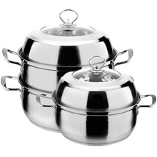 Double bottom steamer stainless steel thick double bottom multi-purpose soup pot steamer 027 7l 18 5l stainless steel deep casserole soup pot with glass lid and induction bottom