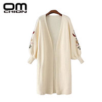 OMCHION 2017 Spring Fashion Long Cardigan Floral Embroidery Women Sweater Lantern Sleeve Casual Knitwear Sweaters Coat WS06