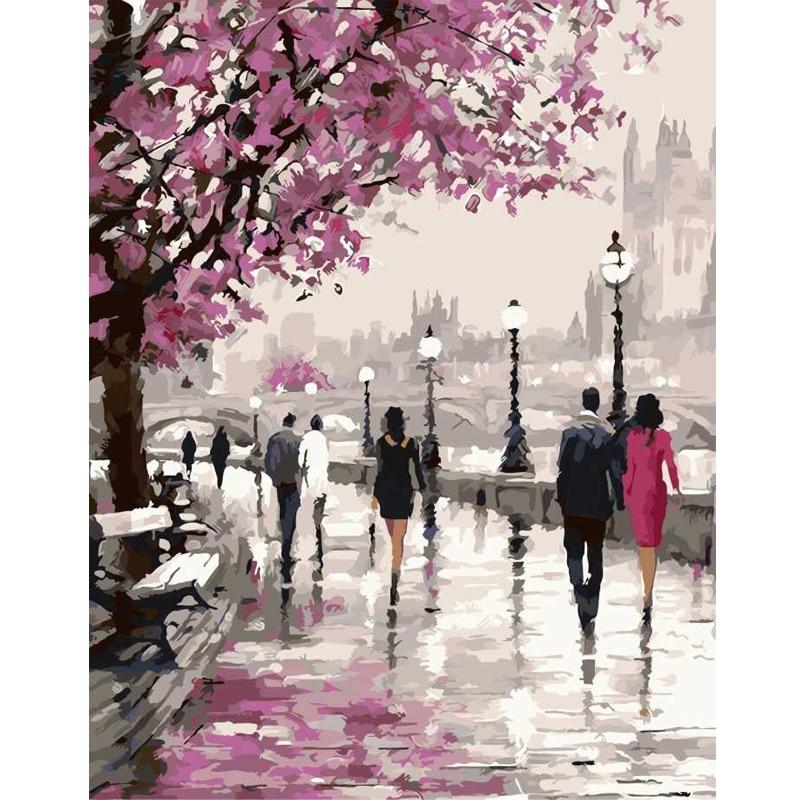 Sans cadre fleurs de Cerisier Route Bricolage Peinture À L'huile By Numéros Kits Wall Art Image Home Decor Acrylique Peinture Sur Toile Pour illustration