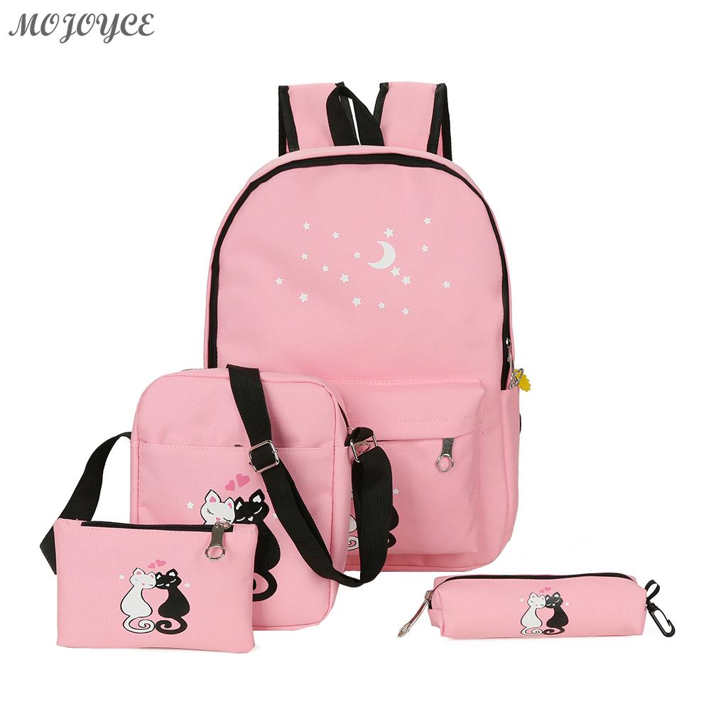 4pcs Lovely Cute Cat Printed Backpack Unisex Canvas Casual Backpack Girls Preppy Chic School Bag Female Pink Travel Rucksack Set цена 2017