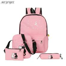 4pcs Lovely Cute Cat Printed Backpack Unisex Canvas Casual Backpack Girls Preppy Chic School Bag Female Pink Travel Rucksack Set(China)