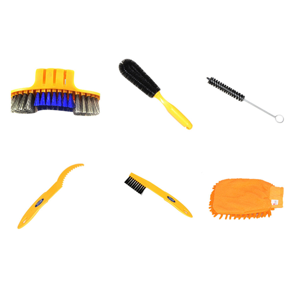 BIKIGHT 6 Bicycle Cycle Mountain Road Bike Cleaning Tool Kit Chain Wheel Brushes Set Cycling Accessories Freewheel #3N22