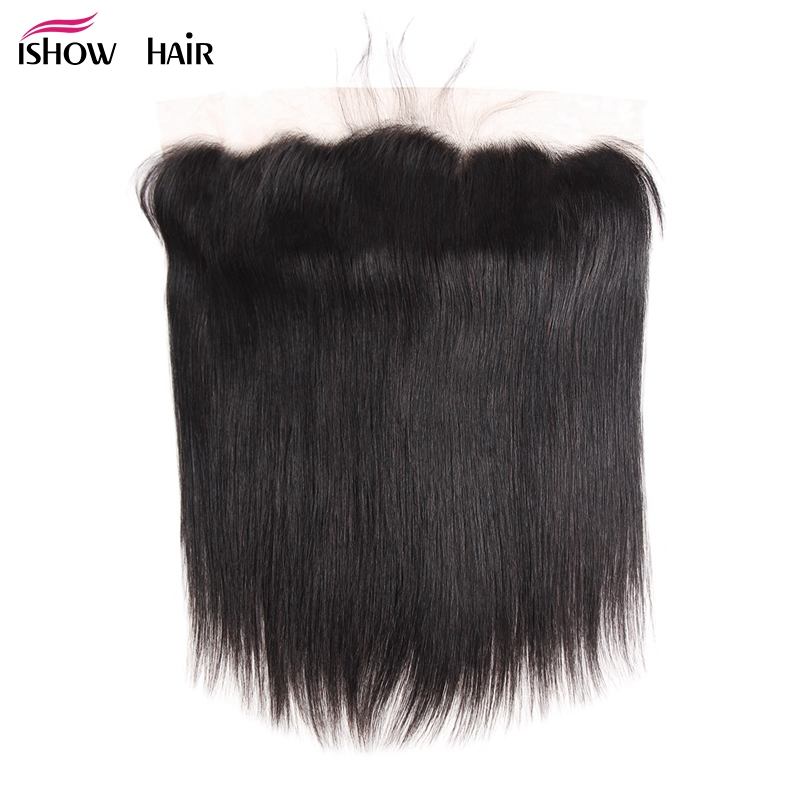 Ishow Pre Plucked 13*4 Ear to Ear Lace frontal Closure Indian Straight Hair Frontal 100% Human Hair Natural Color Non Remy Hair
