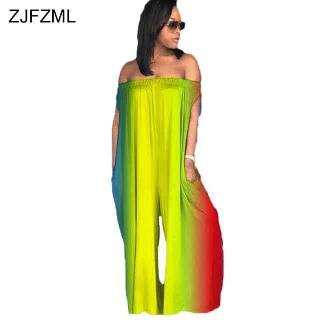 3b4843f544dc ZJFZML Womens Plus Size Rompers Summer Tie Dye Print Casual Loose Overalls  Ladies Backless Off Shoulder Sexy Club Jumpsuits