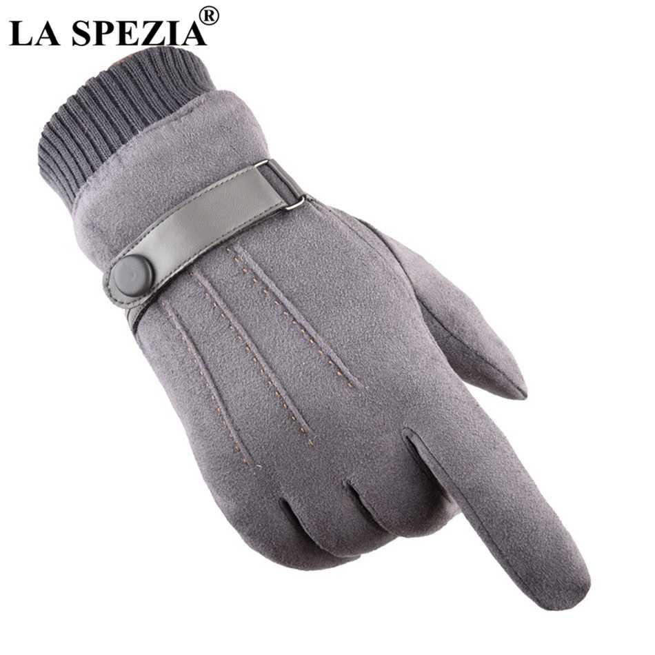 La spezia luvas masculinas inverno tela sensível ao toque luvas de camurça com cinto azul marinho casual térmica masculino de couro grosso homem à prova vento