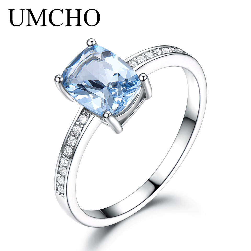 UMCHO Genuine 925 Sterling Silver Rings For Women Sky Blue Topaz Gemstone Solitaire Ring Wedding Romantic Engagement Jewelry New