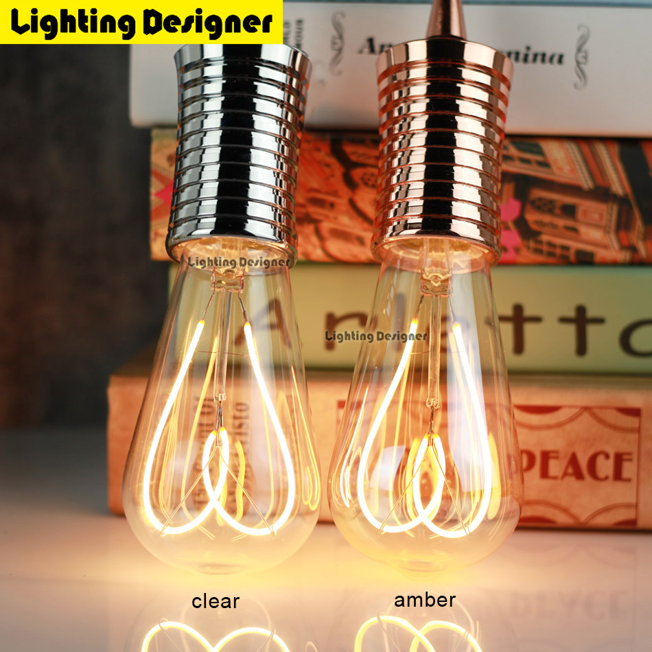 ST64 Edison bulb led e27 love Dimmable Vintage Filament Retro lamp light fixture 220V 4W Lighting 2300k amber gold clear glass led light bulb filament vintage edison e14 2 w 4 w c35 ac220v glass transparent shell cob led candle lamp 360 degree light bulb