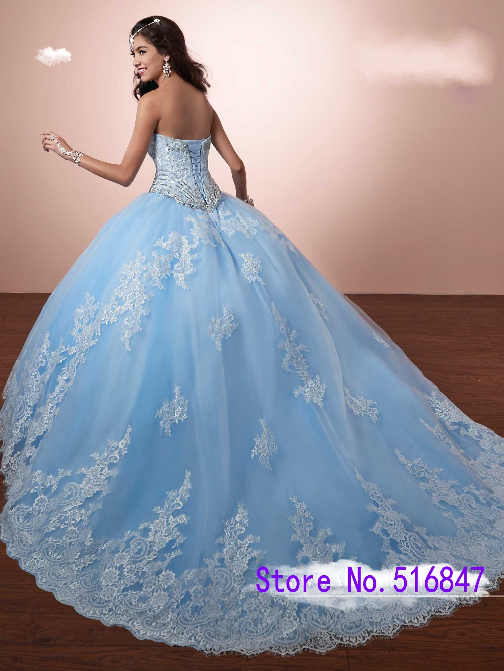 New Light Blue Ball Gown Quinceanera Dresses With Bolero Sweet 16 ...