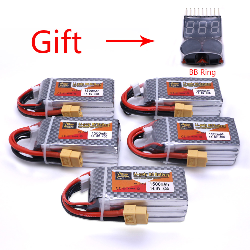 5pcs ZOP Power 14.8V 1500mAh 4S 40C Lipo Battery XT60 Plug Rechargeable Battery