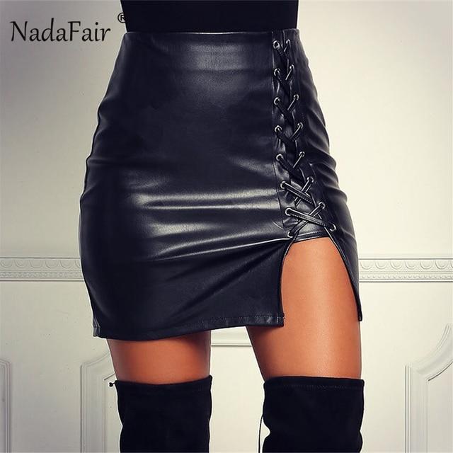 d2fa4293a0 Nadafair Casual Black PU Leather Side Split Pencil Skirts Women Summer Lace  Up Sexy Club Bodycon Mini Skirt