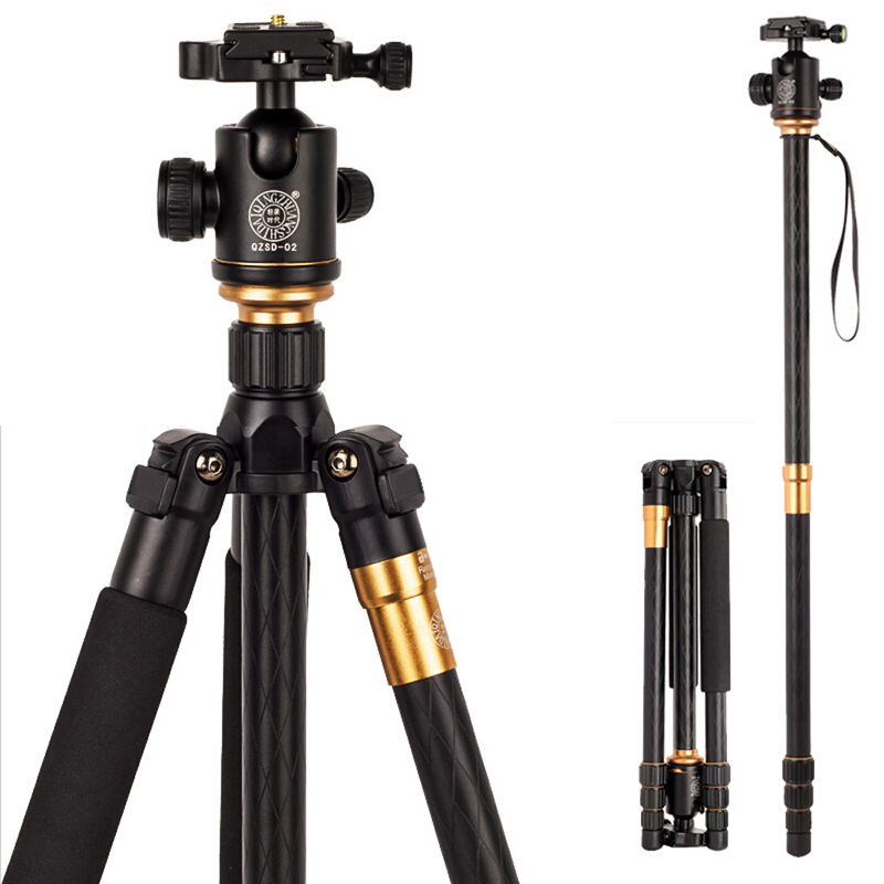 QZSD Қыздар Q999 Professional Portable штативі Monopod + Ball Head үшін Digital SLR DSLR камерасы Fold 43cm Max жүктемесі 15Kg