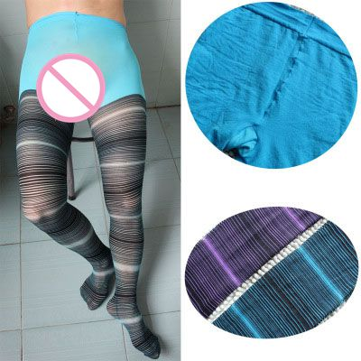2016 heat Men's socks Black&White Striped Pantyhose Socks Tights Sexy Men' s Stockings Cosplay Prop