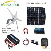 400 вт ветровой генератор + 4*100 Вт солнечные панели модули с пиком 2000 Вт Инвертор + 12 В/24 В контроллер 800 Вт Houseuse ветровая солнечная система