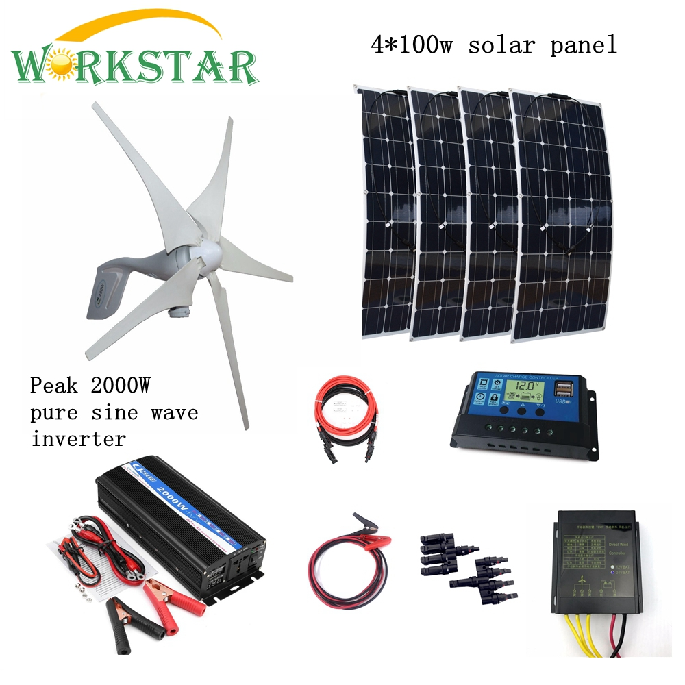400 W générateur de vent + 4*100 W panneaux solaires Modules avec pic 2000 W onduleur + 12 V/24 V contrôleur 800 W Houseuse système solaire éolien