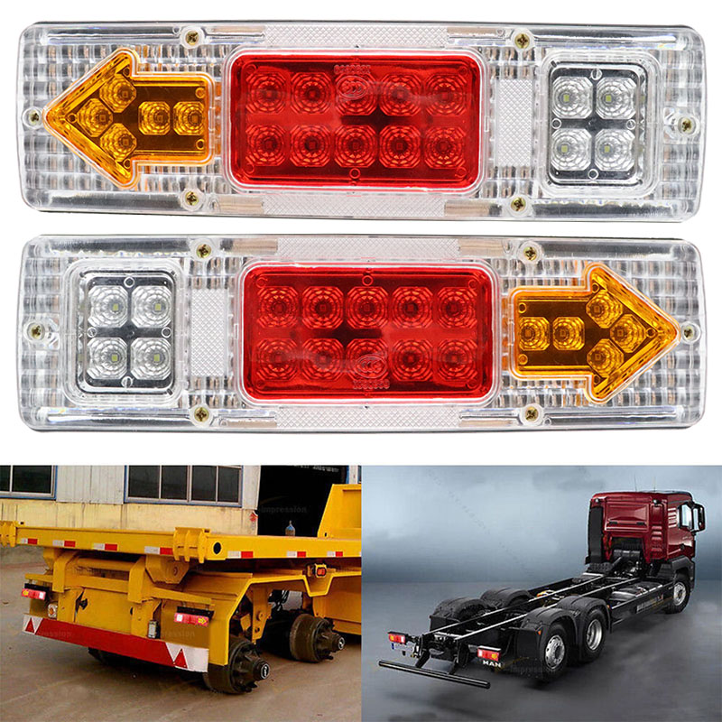 2pcs 12V 19 LED Car Truck Lorry Brake Stop Turn Rear Tail Light Trailer Lamp Indicator Lights Trailer Taillight White