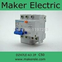 Dz47 Circuit Breaker DZ47LE 63 2P C50