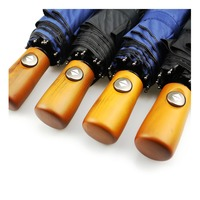 JESSEKAMM Wood Handle Fully Automatic Strong Compact Folding Rain Umbrella 10 Spokes Suit For 1 2