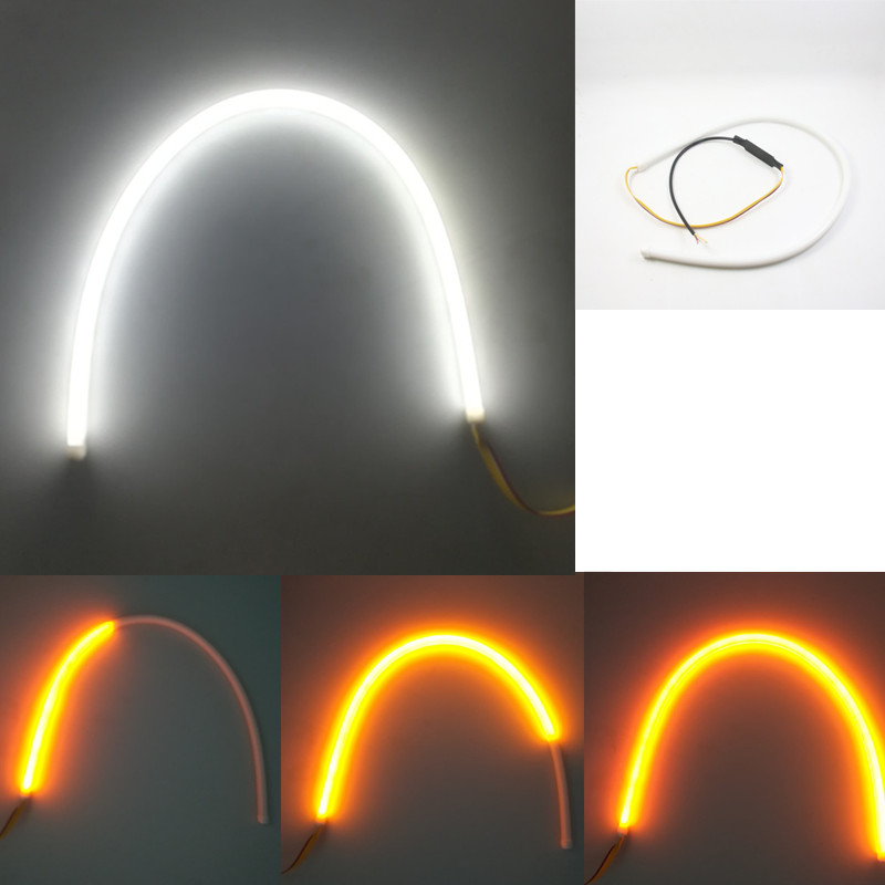 2pc 30cm 45cm 60cm Flowing Daytime Running Light Flexible Soft Tube Guide Car LED Strip White DRL and Yellow Turn Signal Light 2pcs 30cm drl 12v 3colors white blue red flexible soft tears strip daytime running light with yellow turning signal light