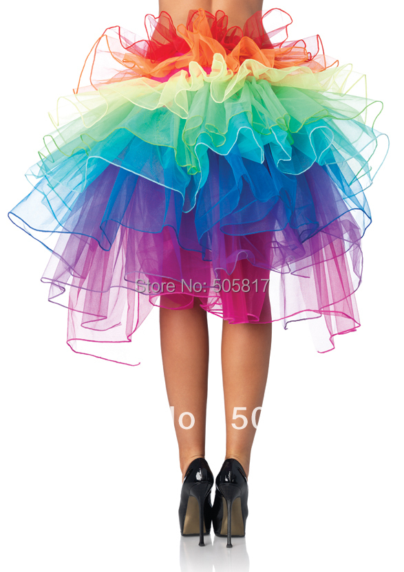 Colorful Rainbow Women Sexy Cake Skirt Costumes New Club -3804
