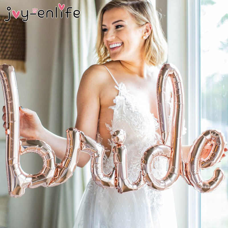 Rose Gold Bride To Be Letter Foil Balloon Mr Mrs Wedding Decoration Bridal Shower Hen Party Favors Bachelorette Party Supplies