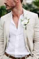 Linen Men Suits For Beach Wedding blazer masculino Slim Fit Prom Dinner Tuxedos Best Man Groomsman Suit jacket+pant