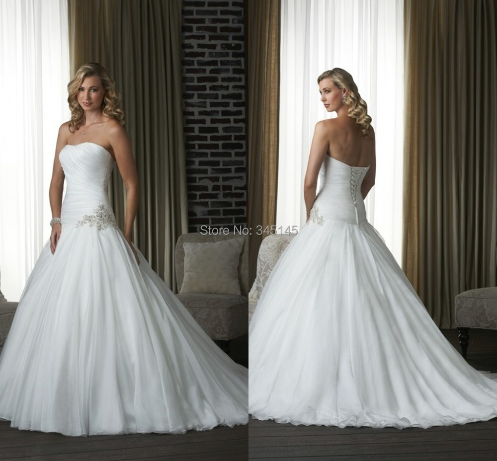 Hot Princess A Line Sweetheart Sweep Train White Organza Beaded Cheap Wedding Dress Lace Up Formal Design Wedding Gowns