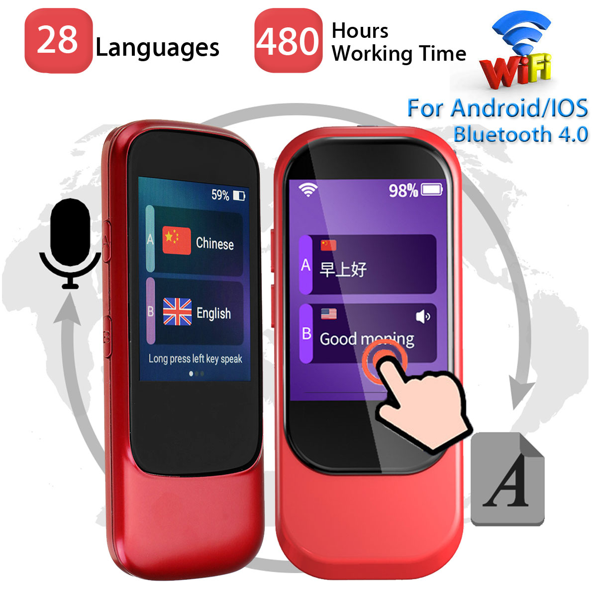 Portable Touchs Screen WIFI Voice Translator Handheld Smart Real Time 28 Languages Multilingual Travel Simultaneous Translator