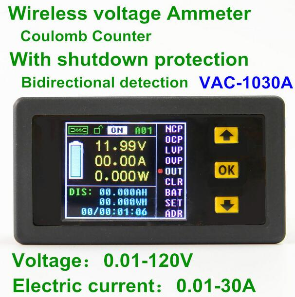 VAC-1030A Digital Ammeter Voltmeter Coulomb Counter Wireless Bi-directionalVoltage Current Tester Power Meter DC 0.01-120V 50v 100a precise real capacity tester coulomb counter coulometer for lifepo4 lithium lipo liion battery 12000761