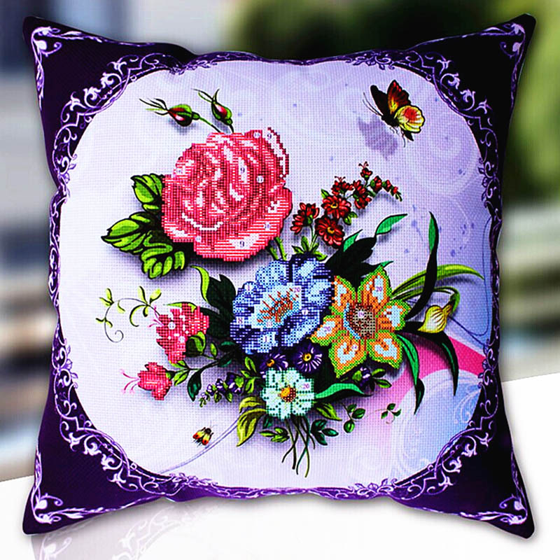 Cross Stitch Pillow Kit Embroidery Needlework Sets Counted Diy Printed Cross-stitch Pillow Kits Patterns Paintings Accessories