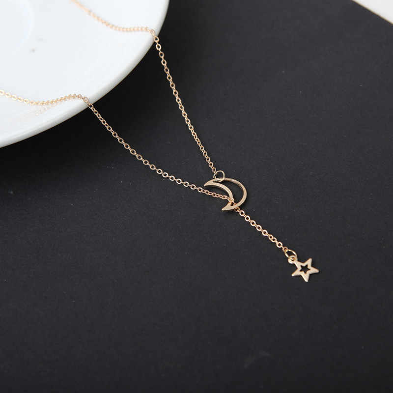 2019 Fashion Moon Star Chain Necklace Gold Alloy Zinc Chain Necklace Women's Party Jewelry Velvet Multi-layer Archery Necklace
