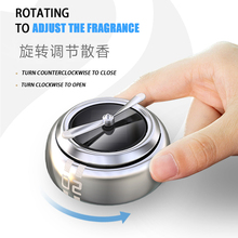 Round Reusable Zinc Alloy Solar Rotating Auto Fragrance Accessories Ornaments Interior Air Freshener Mini Car Perfume Decoration