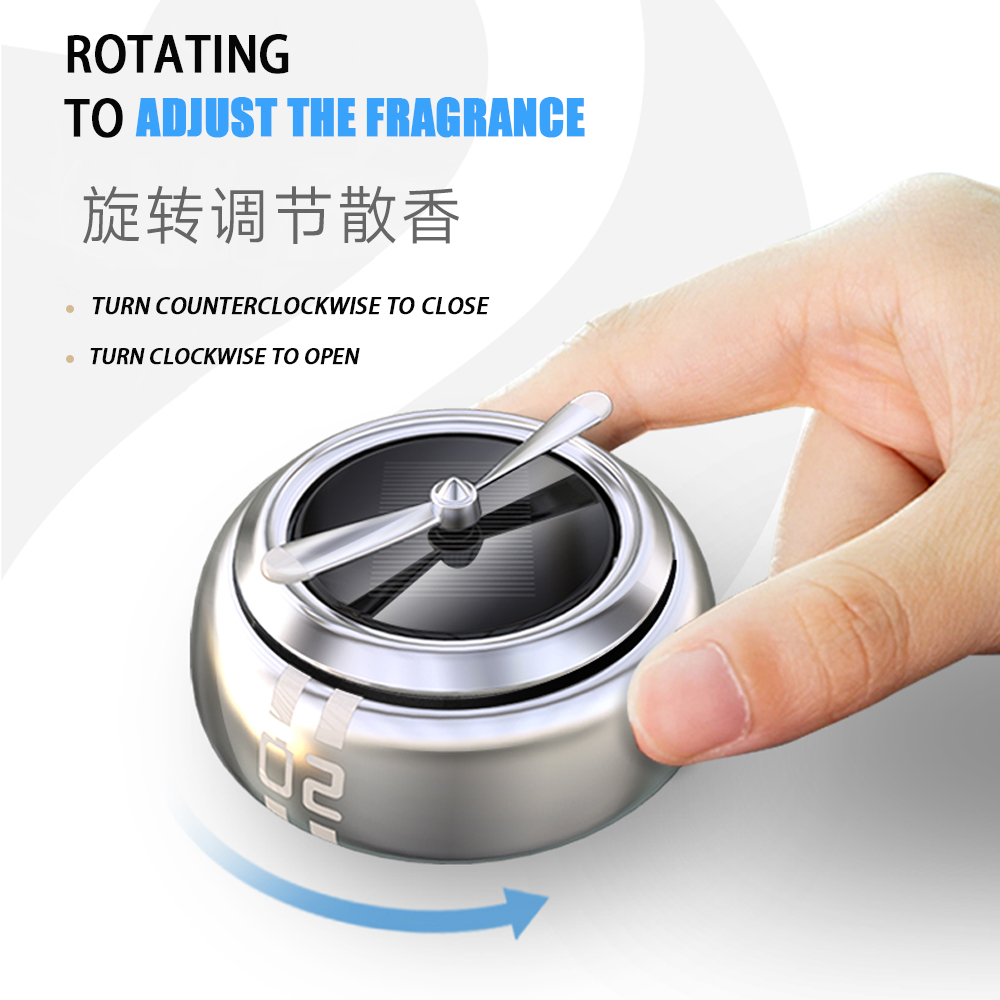 Round Reusable Zinc Alloy Solar Rotating Auto Fragrance Accessories Ornaments Interior Air Freshener Mini Car Perfume Decoration