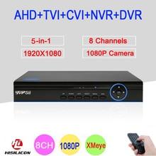 Xmeye App Blue-Ray Panel Hi3521A 8 Channel 8CH 1080P 2MP Full HD Hybrid Coaxial 5 in 1 CVI TVI NVR AHD CCTV DVR Free Shipping
