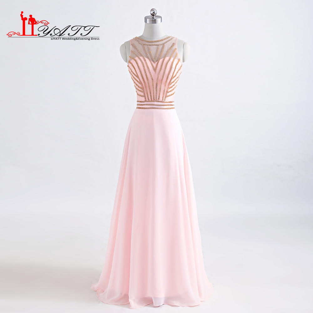 2017 Custom Made New Style Evening Prom Dresses Rose Gold Crystal Chiffon Pink Elegant African Cheap Long Formal Women Gown