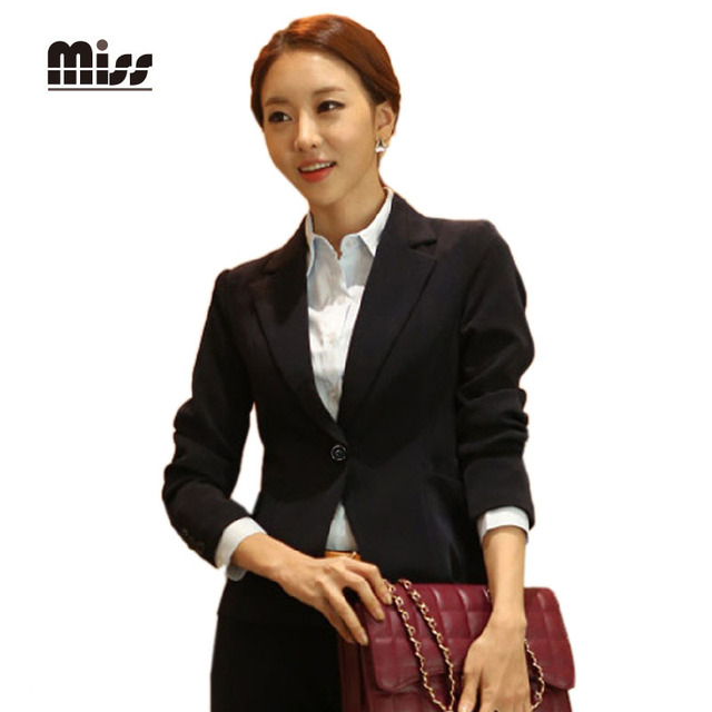 a565507bfa3 MISS 2016 4XL Women Slim Black Formal Blazer Long Sleeve Office Uniform  Designs Suits For Ladies