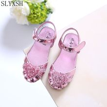 SLYXS Fashion Girls Shoes Rhinestone Glitter Leather Shoes For Girls Spring Children Princess Shoes Pink Silver Golden