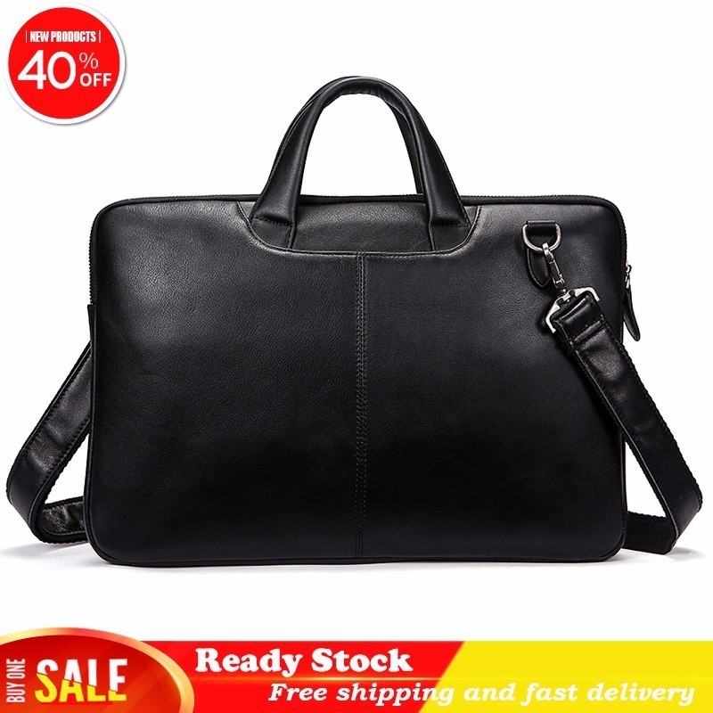 Men Briefcases Luxury Genuine Leather Shoulder Bags Black Handbags Business for Document Male Laptop computer Best Free shippingMen Briefcases Luxury Genuine Leather Shoulder Bags Black Handbags Business for Document Male Laptop computer Best Free shipping