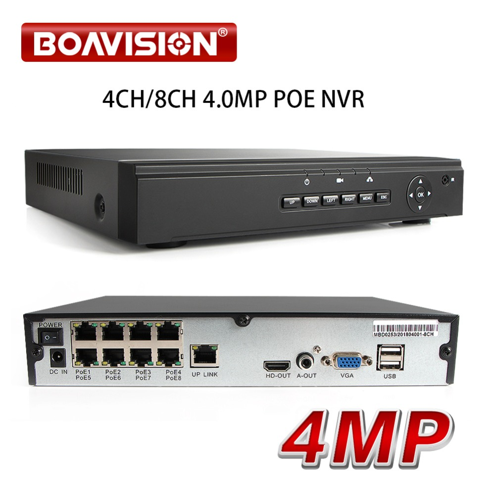 52V H.265 4CH/8CH 4MP 5MP P2P POE CCTV NVR Network Video Recorder Para Câmeras IP POE Segurança gravador de vigilância APP XMEYE
