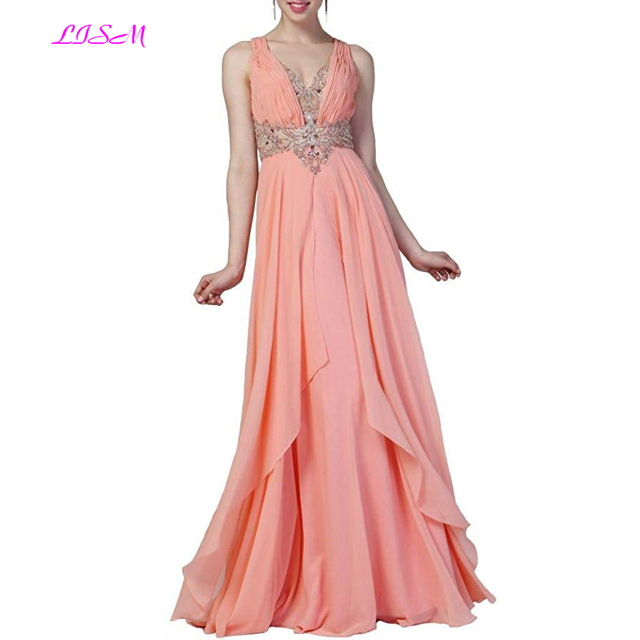 Peach Pink V Neck Chiffon Long Prom Dresses Beaded Top Floor Length Party Gowns Sexy Open Back Ruched Evening Dress gala jurken in Prom Dresses from Weddings Events