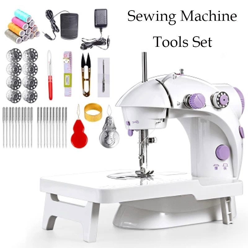 Mini Sewing Machine Treadle Electric Sewing Machine with Sewing Tools Set Household Electric Multi-function Mini Sewing Machines