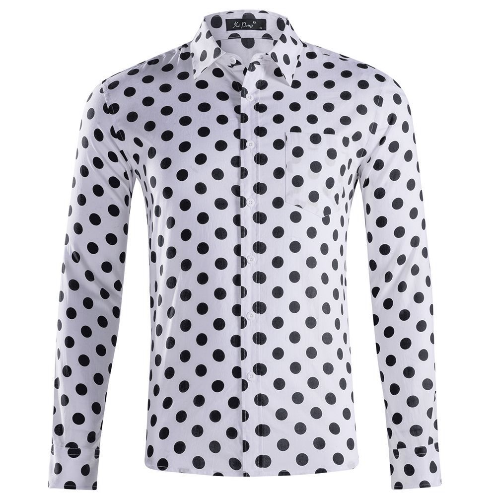 OLOME <font><b>Mens</b></font> <font><b>Polka</b></font> <font><b>Dot</b></font> <font><b>Shirt</b></font> Long Sleeve New Autumn Fashion Brand <font><b>Men</b></font> Clothes Slim Fit 100% Cotton Casual <font><b>Men's</b></font> Social <font><b>Shirts</b></font> image