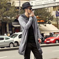 Vintage Old Gray Gradient Male Long Hooded Cardigan Coat Metrosexual Men New Design Cotton England Style