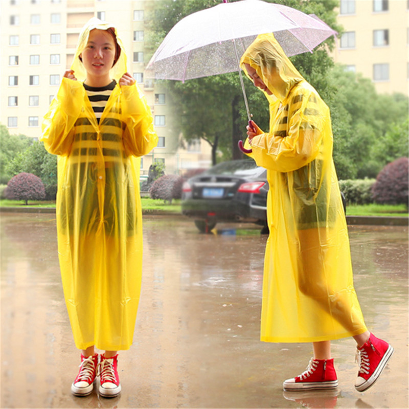 1Pcs PVC New adult single tourism transparent raincoat waterproof on foot Electric cars/Bicycle outdoor conjoined long poncho