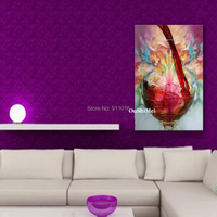 Hang Painting 100% Hand Painted Red Wine Glass Oil Painting Still Pictures Abstract On Canvas Wall Art Home Decor Paintings