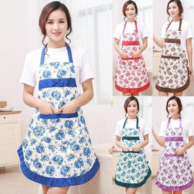 1 Pz Bowknot Fiore Modello Grembiule Donna di Età Bavaglini Casa Cucina Cottura