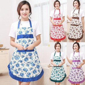 Image 1 - 1Pcs Bowknot Flower Pattern Apron Woman Adult Bibs Home Cooking Baking Coffee Shop Cleaning Aprons Kitchen Accessories 46002