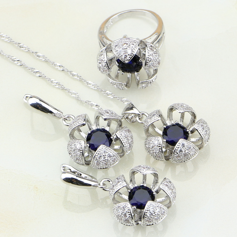 925-Sterling-Silver Jewelry Cubic-Zirconia Necklace/ring Women Blue White CZ for 3PCS