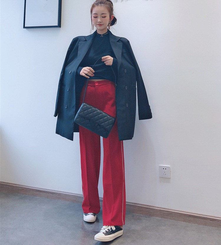 2019 Summer Women Simple Red Straight Button Wide Leg   Pants   Solid Fashion High Waist Pocket Loose Trousers