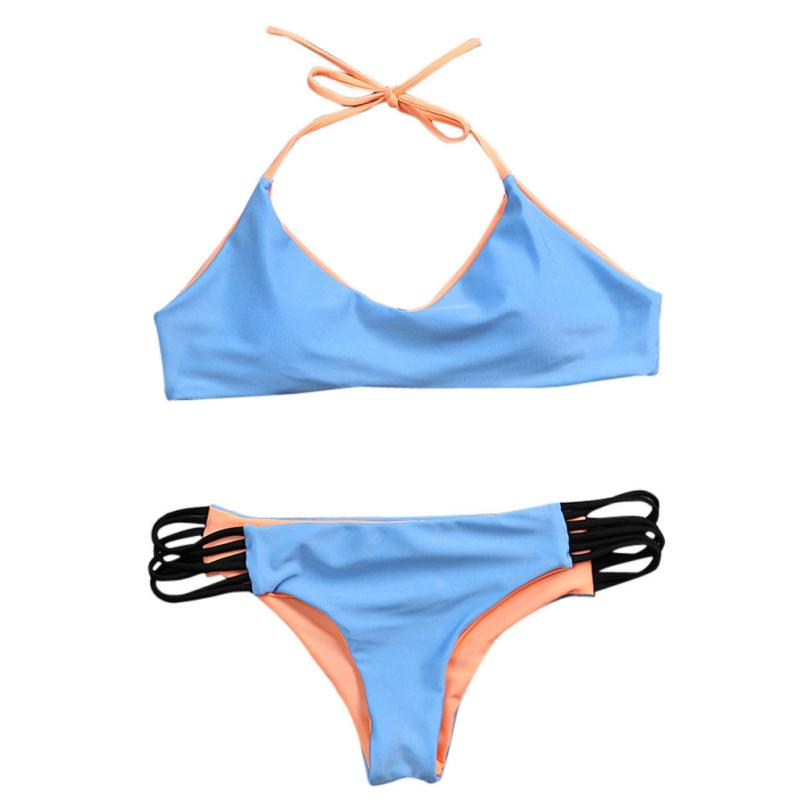 2017 New sexy bikini Women Push up Bra-style swimsuit Simple section hanging neck split Swimwear Thin JUN5